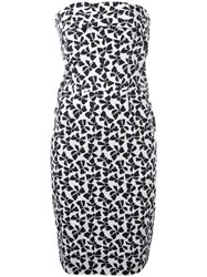Yves Saint Laurent Vintage Bow Print Strapless Dress White