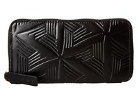 Marni Flower Embossed Calf Leather Card Wallet Black Wallet Handbags