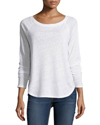 Solow Boat Neck Raglan Long Sleeve Tee White