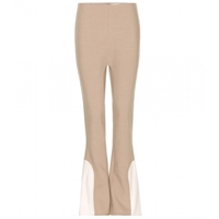 Marc Jacobs Flared Wool Blend Trousers Camel Bone