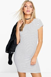 Boohoo Stripe Print Mini Bodycon Dress White