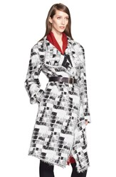 Women's Donna Karan New York Jacquard Blanket Coat With Removable Belt Black Ivory