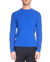 Berluti Textured Crewneck Cashmere Sweater Metallic Blue