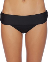 Luxe By Lisa Vogel Solid Banded Bikini Bottom Black