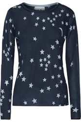 Banjo And Matilda Printed Silk And Cashmere Blend Sweater Blue