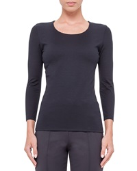 Akris Fitted 3 4 Sleeve Stretch Jersey Top Navy