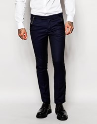 Rogues Of London Tuxedo Suit Trousers In Slim Fit Blue