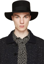 Saint Laurent Black Felted Flat Top Hat