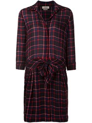 L'agence Checked Belted Shirt Dress Black