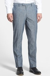 Wallin And Bros. Flat Front Cotton And Linen Trousers Blue