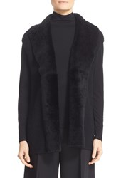 Lafayette 148 New York Women's Stretch Cashmere Cap Sleeve Vest With Genuine Shearling Trim
