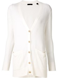 Atm Anthony Thomas Melillo Atm Open Knit V Neck Cardigan White