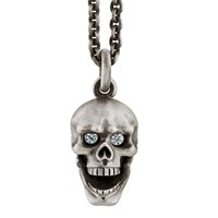 Snake Bones Skull Pendant With Hinged Jaw Silver