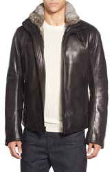 Andrew Marc New York Marc New York By Andrew Marc 'Flycroft' Leather Moto Jacket With Genuine Rabbit Fur Lining Black