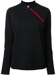 Growing Pains Button Detail Blouse Black