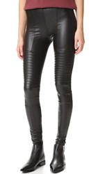 Plush Fleece Lined Liquid Moto Leggings Black