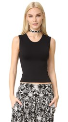Free People Cropped Seamless Muscle Tank Black