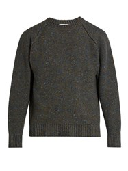 Inis Meain Reversed Knit Wool And Cashmere Blend Sweater Blue Multi