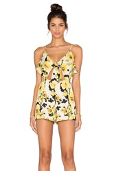J.O.A. Floral Cut Out Romper Yellow