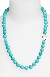 Women's Simon Sebbag Stone Beaded Necklace Silver Oval Turquoise