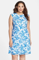 Plus Size Women's Chetta B Floral Print Lace Fit And Flare Dress