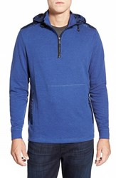 Men's Bugatchi Hooded Quarter Zip Sweater Night Blue
