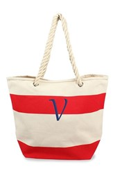 Cathy's Concepts Personalized Stripe Canvas Tote Red Red V