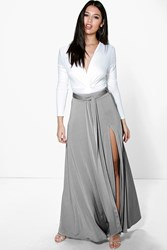 Boohoo Obi Tie Split Front Full Maxi Skirt Grey