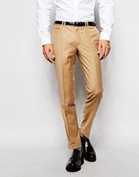 Noak Flannel Suit Trousers In Skinny Fit With Turn Up Camel