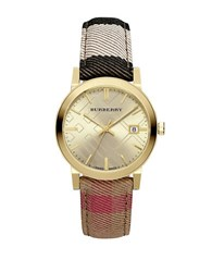 Burberry Bu9041 Classic Goldtone Stainless Steel Check Strap Watch Brown