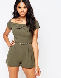 Love Cold Shoulder Playsuit Khaki Green