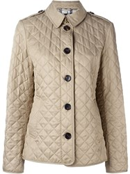 Burberry Brit Classic Quilted Jacket Nude And Neutrals