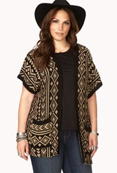 Forever 21 Plus Size Eclectic Tribal Pattern Cardigan Black Taupe
