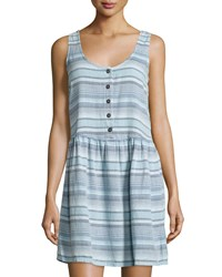 Current Elliott Striped Button Front Sleeveless Dress Desert Mir