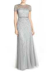Women's Adrianna Papell Beaded Mesh Gown Blue Mist