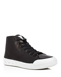 Rag And Bone Rag And Bone Perforated High Top Lace Up Sneakers Black