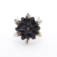 The Wildness Jewellery Black Agate Flower Ring