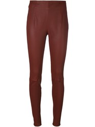 Thierry Mugler Skinny Leather Pants Red
