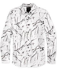 Guess Men's Marble Print Shirt Black White