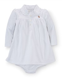 Ralph Lauren Long Sleeve Pima Polo Dress And Bloomers White