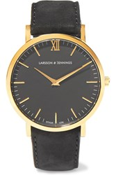 Larsson And Jennings Lader Suede And Gold Plated Watch Black