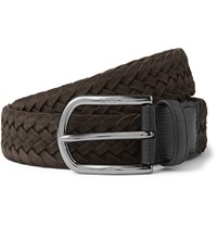 Tod's 3.5Cm Woven Suede Belt Brown