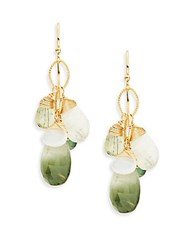 Eva Hanusova Gem Rush Green Quartz Moon Stone Prehnite And Apatite Drop Earrings No Color
