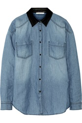 Maje Faux Leather Trimmed Cotton And Linen Blend Chambray Shirt