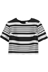 Iris And Ink Pearl Cropped Striped Satin Twill Top