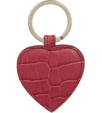 Smythson Mara Crocodile Embossed Leather Keyring