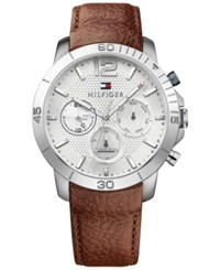 Tommy Hilfiger Men's Sophisticated Sport Brown Leather Strap Watch 44Mm 1791270 White And Brown