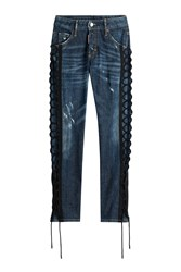 Dsquared2 Skinny Jeans With Lace Up Detail Blue