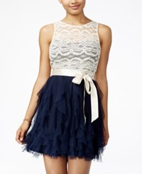 Teeze Me Juniors' Lace Ruffled Dress A Macy's Exclusive Navy Nude