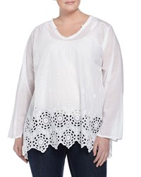 Johnny Was Plus Shirred Yoke Embroidered Eyelet Tunic White
